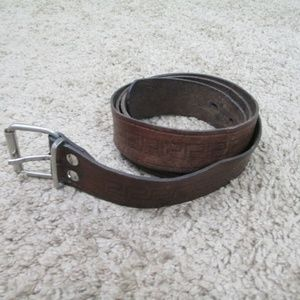 Unbranded Accessories - Shabby Leather Belt Large Geo Tooled Design Shabby